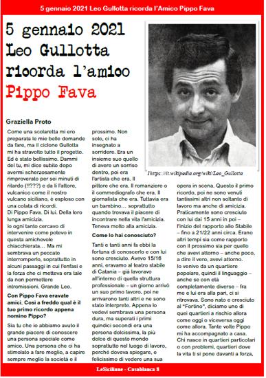 Articolo su LeSiciliane Leo Gullotta racconta l'Amico Pippo Fava